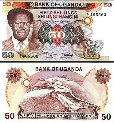 Uganda 50 Shillings 1985 Unc Consecutive 5 Pcs Lot P-20