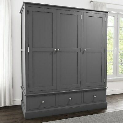 Grey 3 Door 3 Drawer Wardrobe Solid Wood Triple Bedroom Furniture Combi