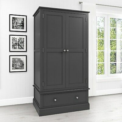 Grey 2 Door Double Wardrobe 1 Drawer Solid Wood Bedroom Furniture Combi