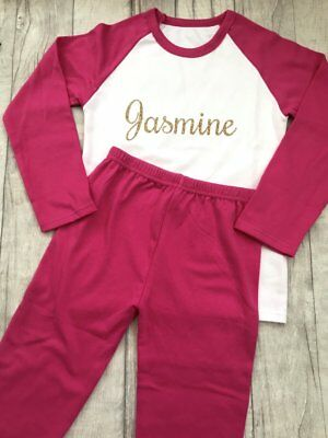PERSONALISED PYJAMAS PRINCESS GIFT, Gold Glitter Name Hot Pink PJs, Keepsake