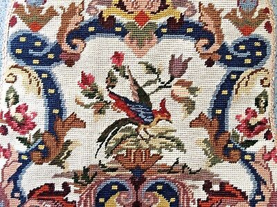 Vintage English Jacobean Style Wool Silk Needlepoint Embroidered Chair Cushion