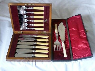 Boxed set of fish knives, forks & Victorian servers - hallmarked silver collars