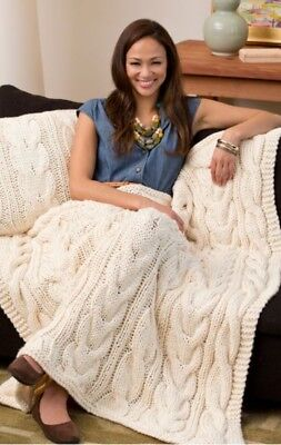 Knitting Pattern twisted cables throw rug and cushion 10ply