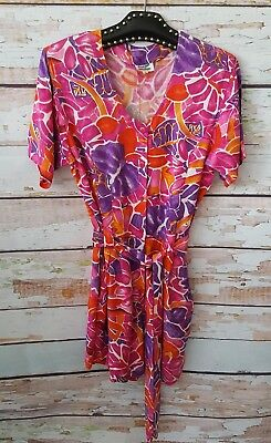 Vintage 90s multicoloured floral abstract romper playsuit L 12 14