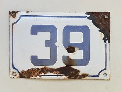 vintage ISRAELI enamel porcelain number 39 house  sign # 39