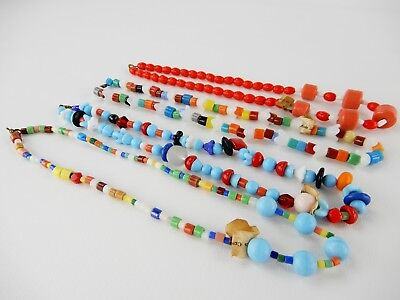 Lot of 4 Vtg Czech Glass Bead Necklace Multi Color Mardi Gras Throw Beads Tag