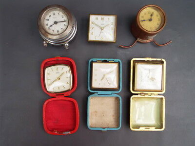 Job lot of vintage alarm travel clocks and part clocks for spares or restoration