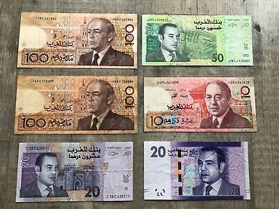 MAROCO 10, 20, 50, 100 Dirhams Set of 6 banknotes