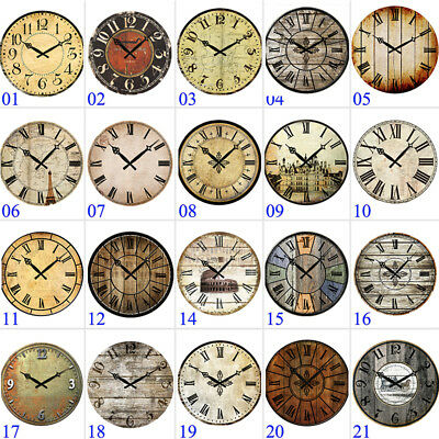 "15"" Large Vintage Wooden Wall Clock Shabby Chic Rustic Home Decor Antique Style"
