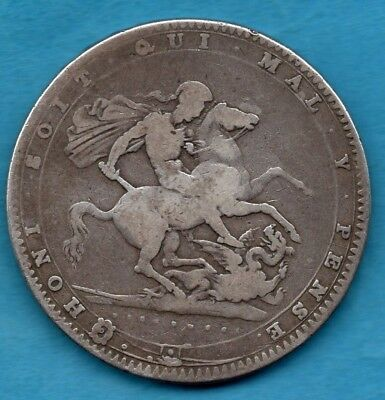 1820 Crown Silver Coin. George Iii. Five Shillings. Lx Edge. Well Used Condition