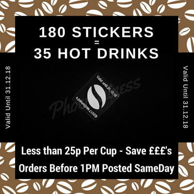 Coffee Loyalty Card Stickers - 35 Drinks less than 25p - Save £'s Valid 31.12.18