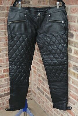 Women's Black Leather Tommy Jeans Moto Biker Quilted Pants Sz 16 -18 See listing