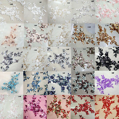 Wedding Gown DIY Applique Embroidery Blossom Motif Beaded Bridal Lace Trim 1PC