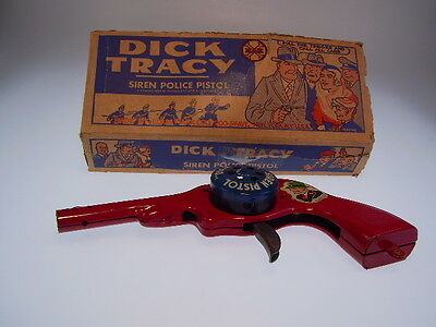 """GSCOM   """"DICK TRACEY SIREN PISTOL"""" ca.22cm, NEARLY NEW WITH VERY BAD BOX!"""