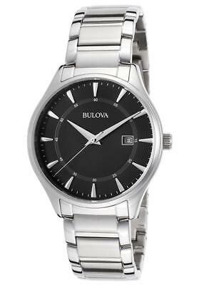 Bulova 96B184 Men's Black Dial Silver-Tone Stainless Steel Quartz Dress Watch
