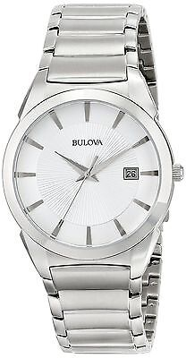 Bulova 96B015 Men's Dress Stainless Steel Silver Dial Date Quartz Watch