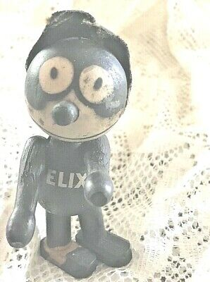 "Antique Felix the Cat Wood Figurine  Pat. Sullivan June 23 1925  4"" Tall"