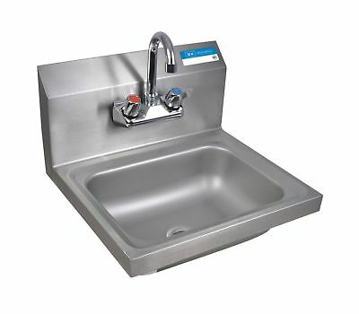"BK Resources Wall Mount Stainless Steel Hand Sink with 4"" On Center Splash Mo..."