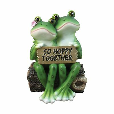"Happy Frog Couple ""So Hoppy Together"" Fun Decor Figurine By DWK 