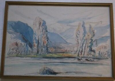 FRAMED WATERCOLOUR PAINTING signed 1937 TREES BY THE WATERS EDGE