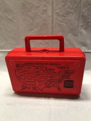 Vintage Red Burger King Lunch Box With United States Map