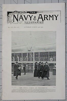 1901 Print Royal Family At Portsmouth Queen & Duke Of Cornwall