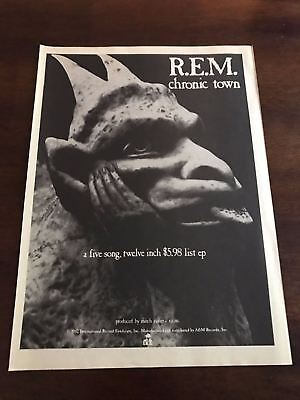 1982 VINTAGE 8X11 PRINT Ad FOR THE ALBUM RELEASE OF R.E.M. CHRONIC TOWN GARGOYLE