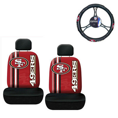 1a91318ce75 NFL San Francisco 49ers Car Truck 2 Front Seat Covers Steering Wheel Cover  Set
