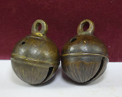 Vintage Hand Crafted Bronze Pet Animal Bell Pair Of Two Beautiful Bells. G70-137