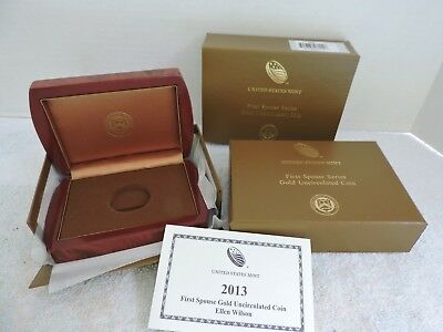 2013-W UNC $10 Gold Edith Wilson First Spouse Box OGP & COA No Coin  LC#10