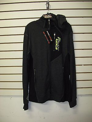 FXR Mens Charcoal Snowmobile Terrain 50% Merino Blend Full Zip Hoodie Base Layer