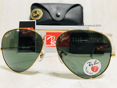 New Ray Ban Aviator RB3025 001/58 62mm Polarized Green Lens Gold Frame Large