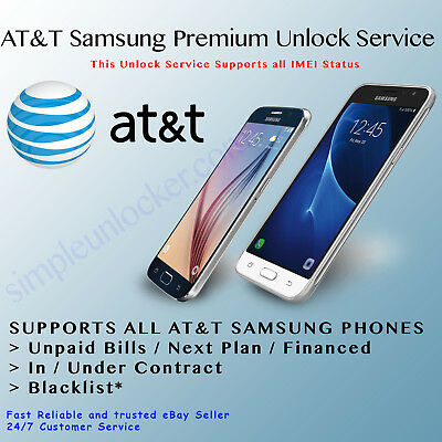 Official Unlock Service Code AT&T Samsung Galaxy S9+ S8 S7 S6 S5 Note 8 5 4 3