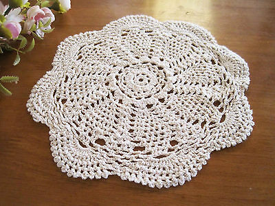 Again @ Vintage Style Floral Hand Crochet Cotton Round Doily Beige