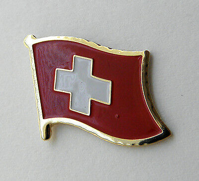 Switzerland Swiss International Country Single Flag Lapel Pin Badge 3/4 Inch