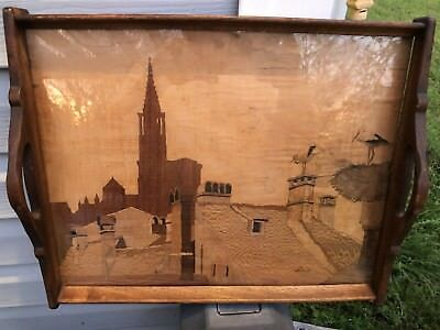 Antique Jean Charles Spindler Alsace French Marquetry Inlay Wood Serving Tray