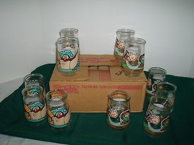 welch's jelly jar glasses tumblers 6 charlie brown 5 winnie the pooh with box