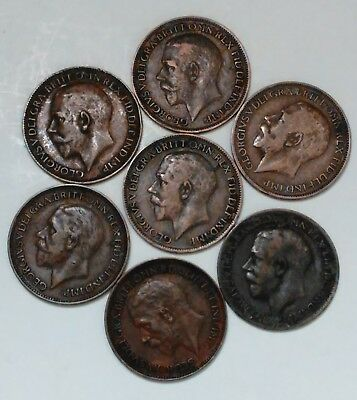 Lot Of 7 Great Britain Farthing Coins