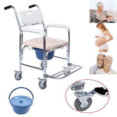 Commode Wheelchair Bedside Toilet & Shower Chair Bathroom Rolling Chair Aluminum