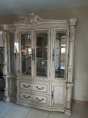Large Antique White China Hutch. Four Glass Doors, Two Drawers, Two Cabinets .