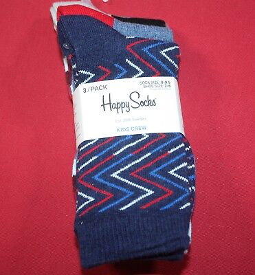 Happy Socks Kids Crew Socks 3 Pairs Fits Shoe Sizes 2-6 Combed Cotton Blue Red
