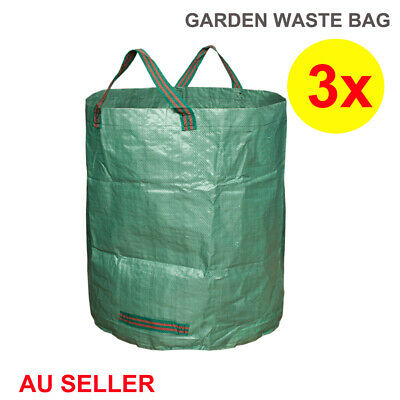 3x 270L Large Garden Waste Bag Leaf Rubbish Plant Grass Sack Reusable Carry Pack