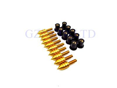 Motorcycle Aluminum M5 Windscreen Windshield Spike Bolts Screws Kit YELLOW