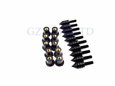 Black Aluminum Motorcycle Spiked Bolts Screw for Windscreen For Suzuki Honda