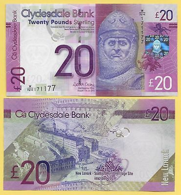 Scotland,Clydesdale Bank,20 pounds,ND2015,P-New,UNC Banknote > Robert The Bruce