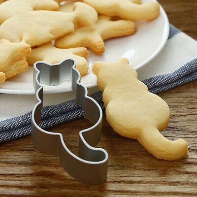 KD_ Cute Cat Stainless Steel Baking Cake Mould Chocolate Cookies Cutter Mold N