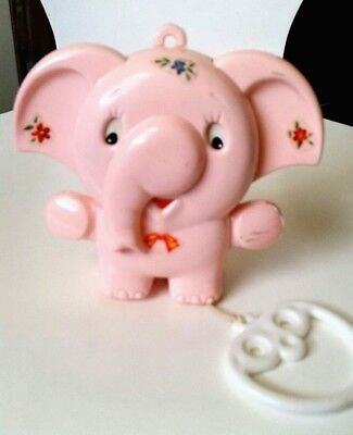 Adorable Vintage Pink Elephant Musical Baby Toy, Girl, Moving, Lullaby, Cot Gift