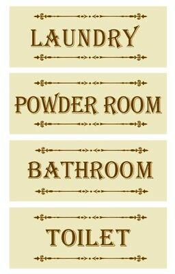 Country Wooden Hanging CREAM SIGNS Toilet Bathroom Laundry Powder Room Plaque...