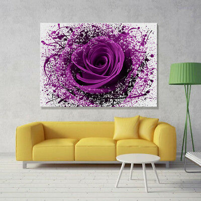 LARGE MODERN PURPLE ROSE FLOWERS Canvas Print Pictures Wall Art Prints Unframed