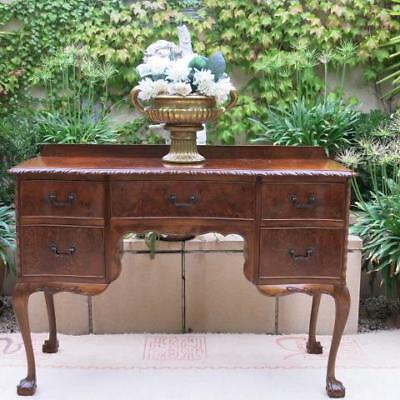 Burr Walnut French Provincial Louis Xv Dressing Table Desk Carvings Vintage